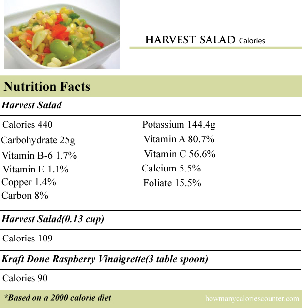 calories in a harvest salad