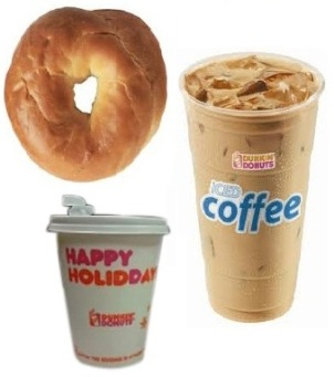 Dunkin Donuts Plain Bagel, Small Iced Coffe, Skim Milk