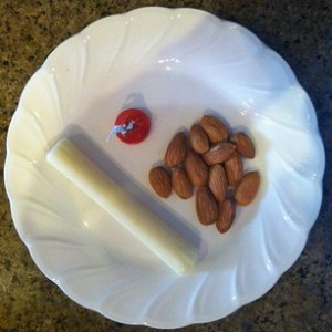 String cheese with a few almonds