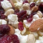 Popcorn with dried fruits and nuts